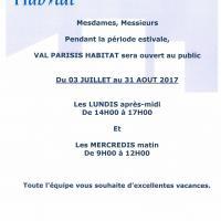 Fermeture Estivale Juillet - Aout 2017